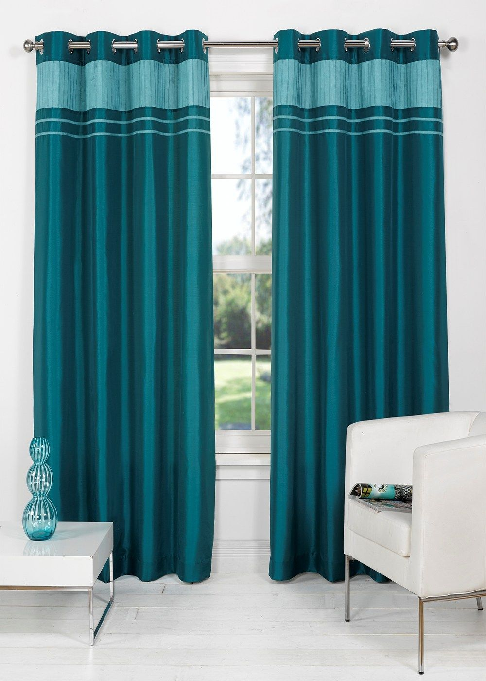 Silk Curtains For Living Room Charlotte Faux Silk Fully Lined Eyelet Curtains Matalan Living