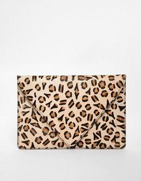 Image 1 of ASOS Leopard Print Ponyskin Clutch Bag 6f27dfc87db8b