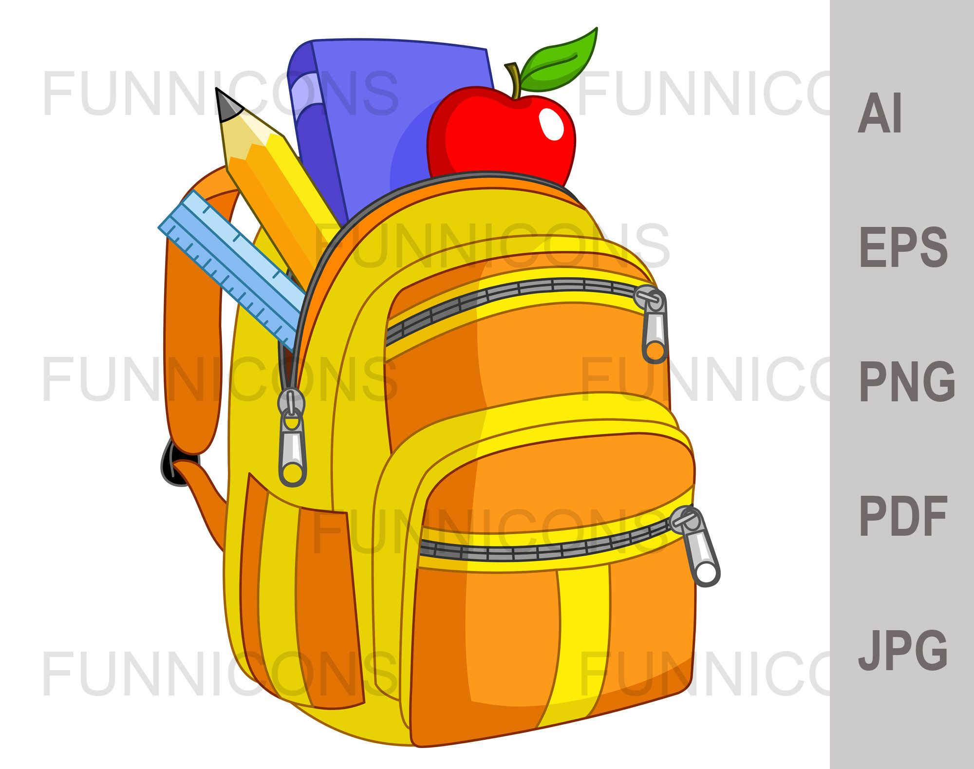 School Backpack Digital Back To School Clipart Ai Eps Png Pdf And Jpg 300 Dpi Files Included Digital Files Instant Download Back To School Clipart School Clipart School Backpacks