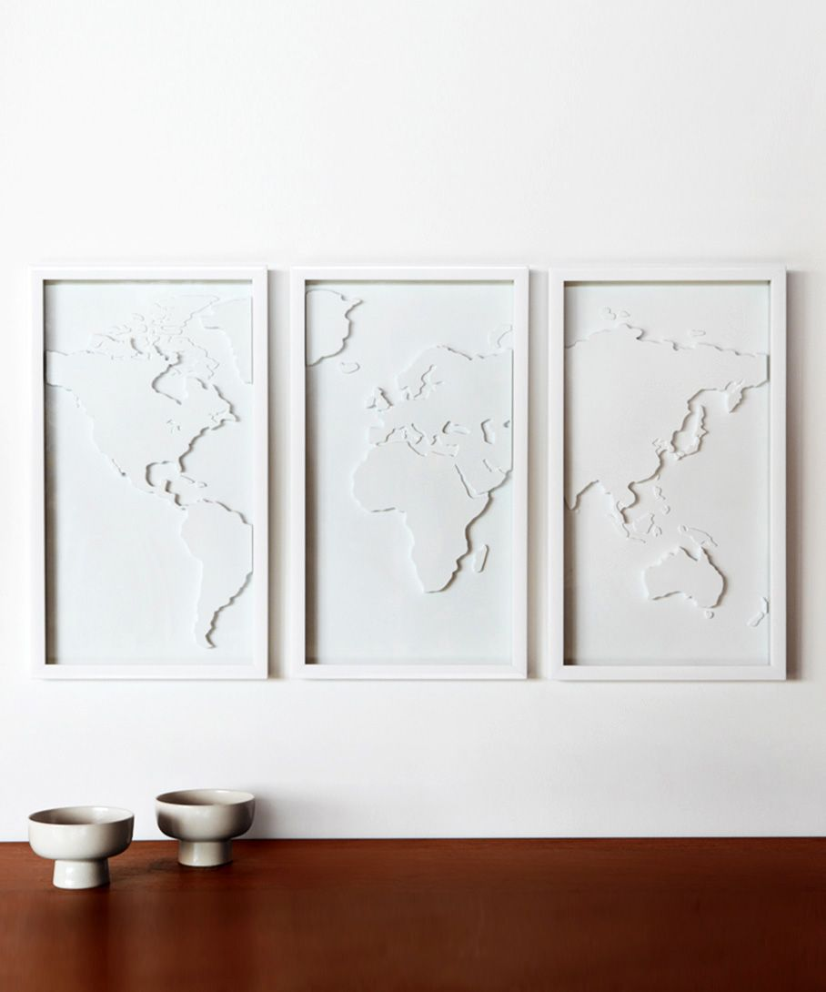 White world map art it would be fun to have something like this dot bo furniture and dcor for the modern lifestyle gumiabroncs Image collections
