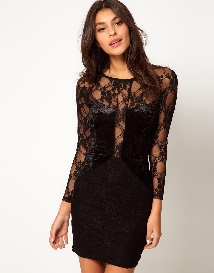 Asos asos bodycon dress in lace and velvet at asos moda mujer