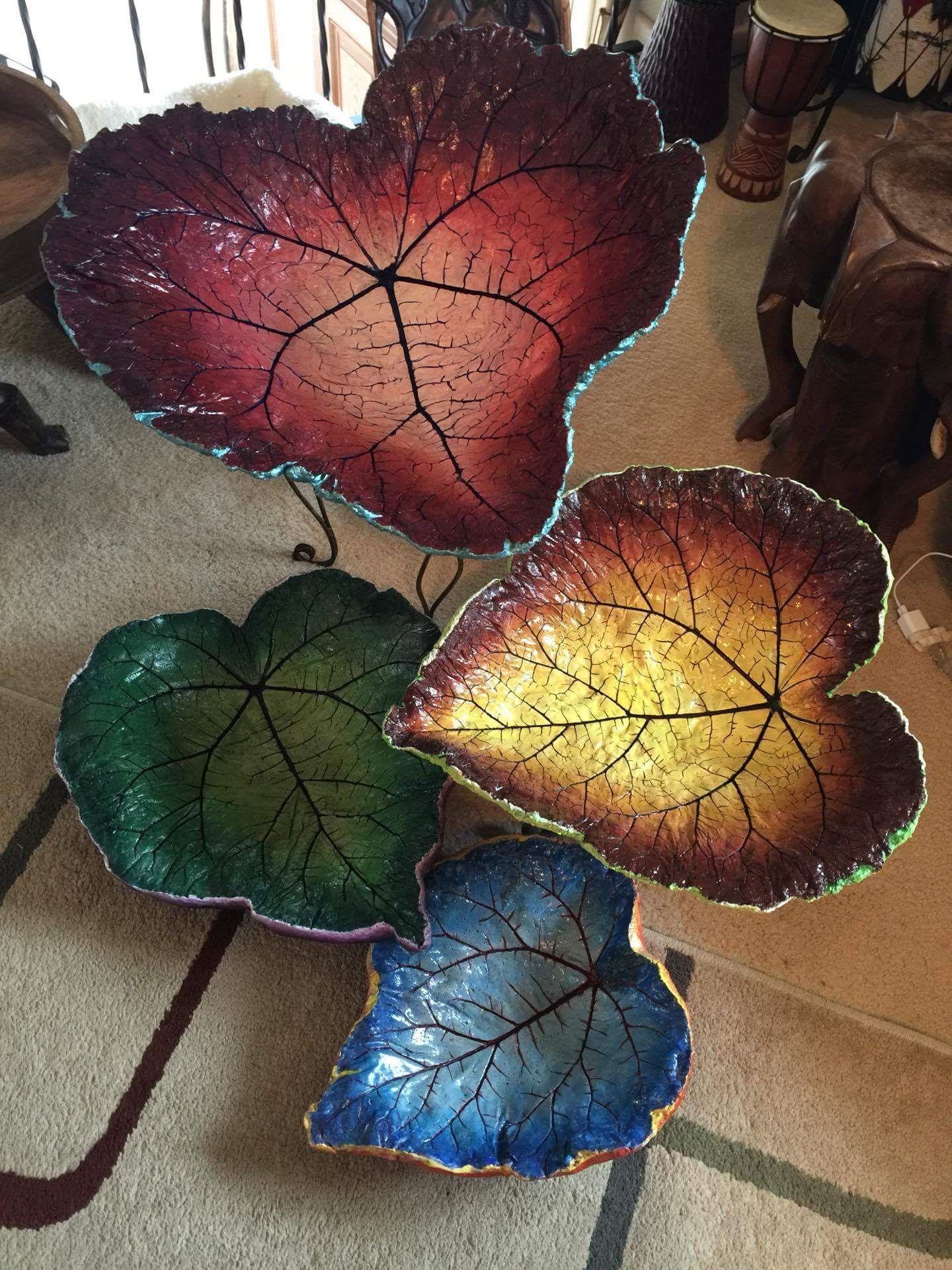 cement rheubarb leaf hand painted by barbara h