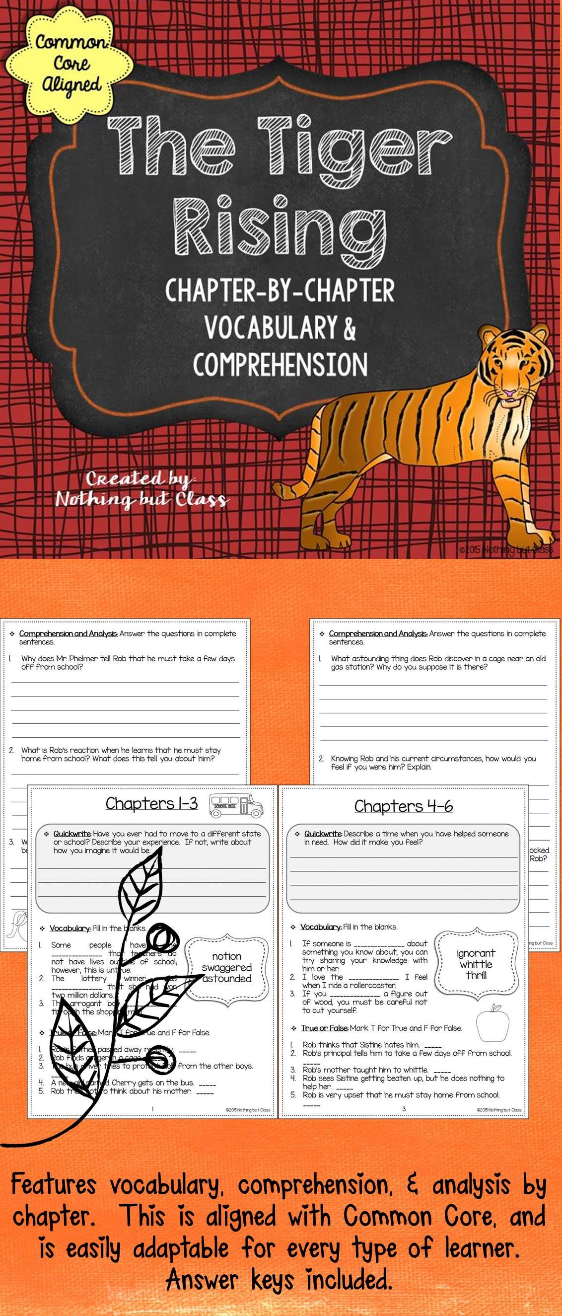 The Tiger Rising Comprehension And Vocabulary By Chapter Free