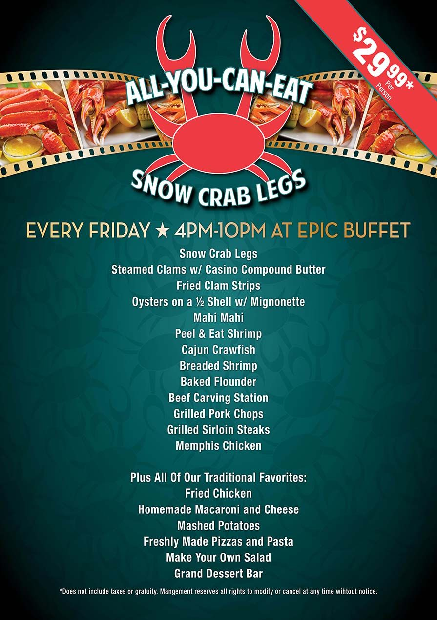 Captivating Hollywood Epic Buffet Menu | Seafood, Seafood Night, All You Can Eat Crab,