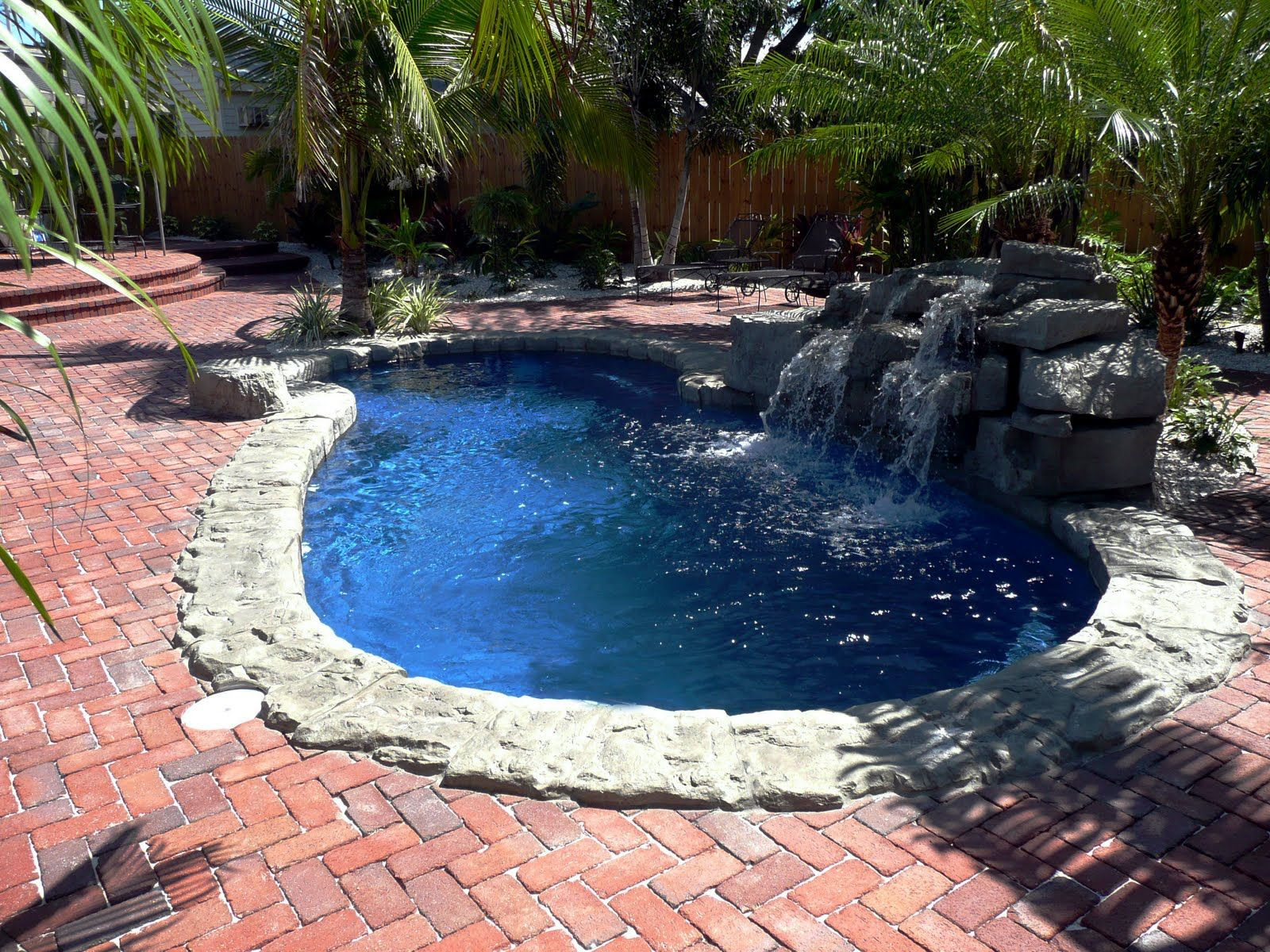 Swiming Pools Water Fall With Rock Wall Also Tile Texture And Small ...