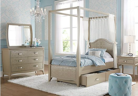 Canopy Bedroom Sets Girls picture of belle noir champagne 6 pc twin canopy bedroom from teen
