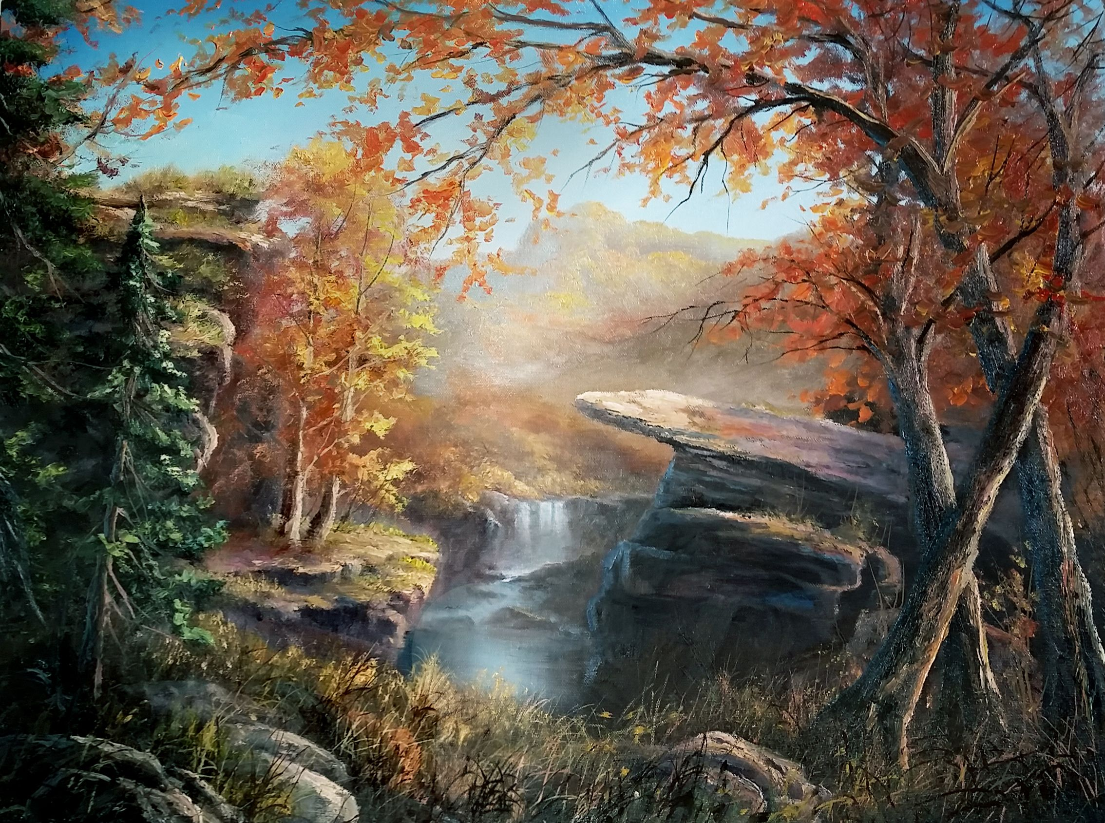 Autumn Cliffs Oil Painting By Kevin Hill Watch Short Oil Painting Lessons On Youtube Kevi Kevin Hill Paintings Oil Painting Landscape Desert Sunset Painting
