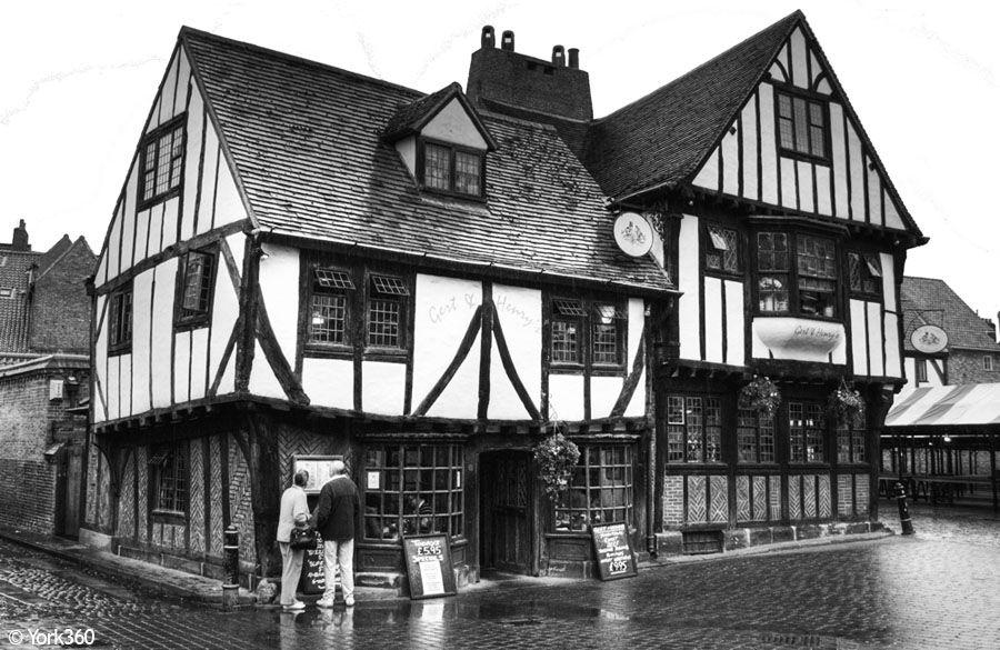 Gert Henrys York Old Buildings Tudor Black White Photo