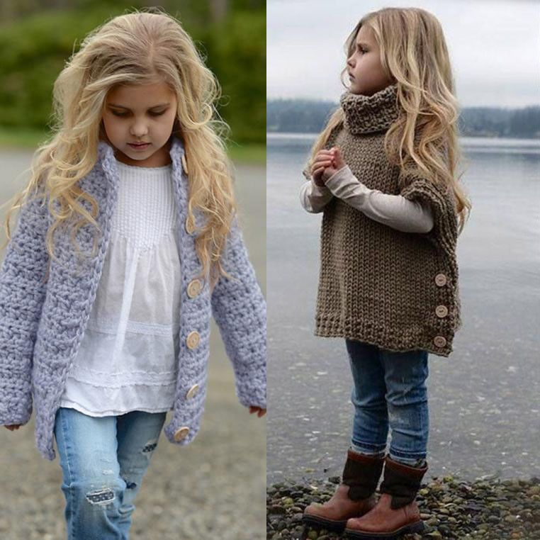 624d7818a00c Toddler Kid Baby Girl Outfit Clothes Button Knitted Sweater Cardigan ...