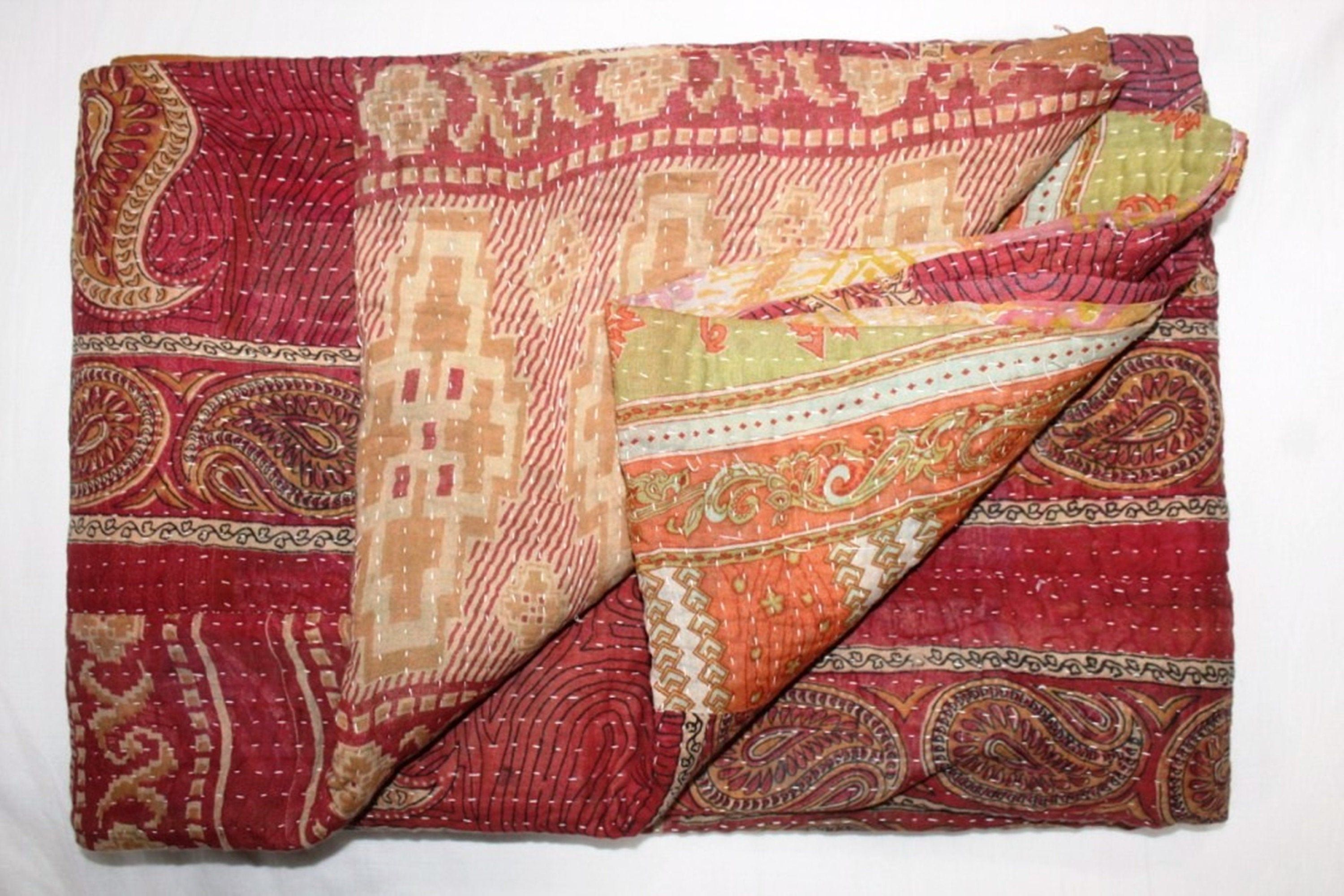Indian Reversible Throw Blanket Vintage Kantha Quilt Handmade Bohemian Bedding