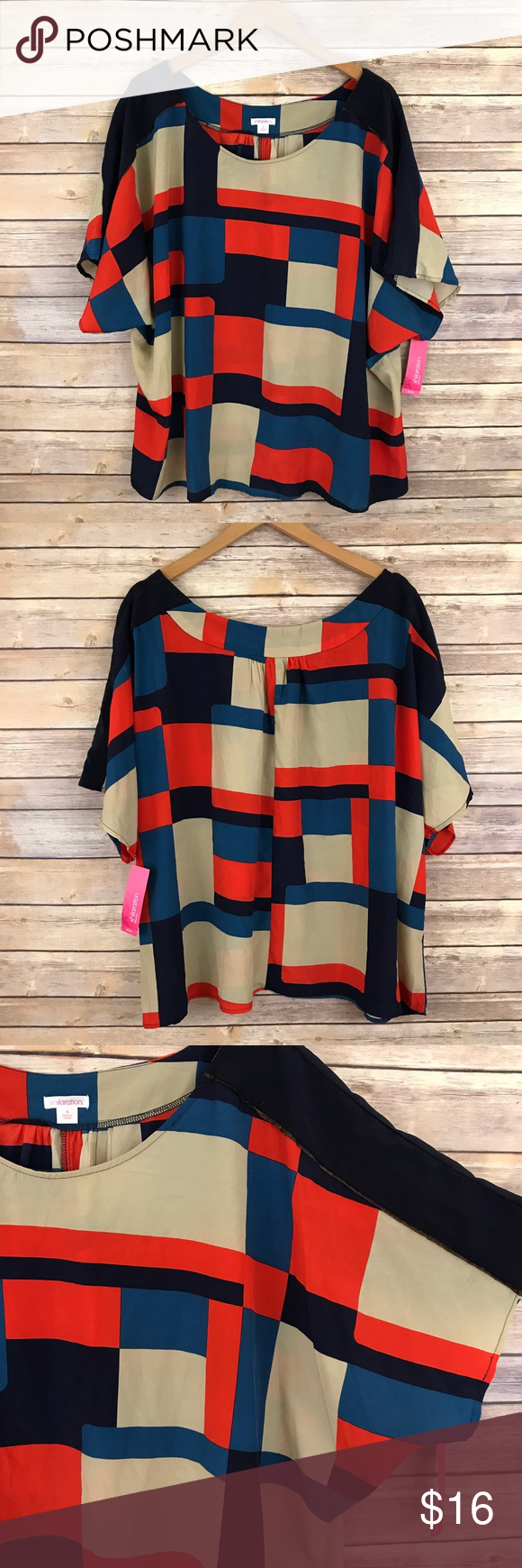 NWT Xhilaration Colorful Square Print Top 4X J1 Condition: No Rips; No Stains  📦Orders are shipped within 24hrs! {Except weekends}📦  🚫No Trades🚫No Holds🚫 Xhilaration Tops Blouses