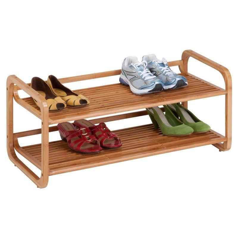 Honey Can Do 2 Tier Stackable Bamboo Shoe Shelf Bamboo Shoe Rack