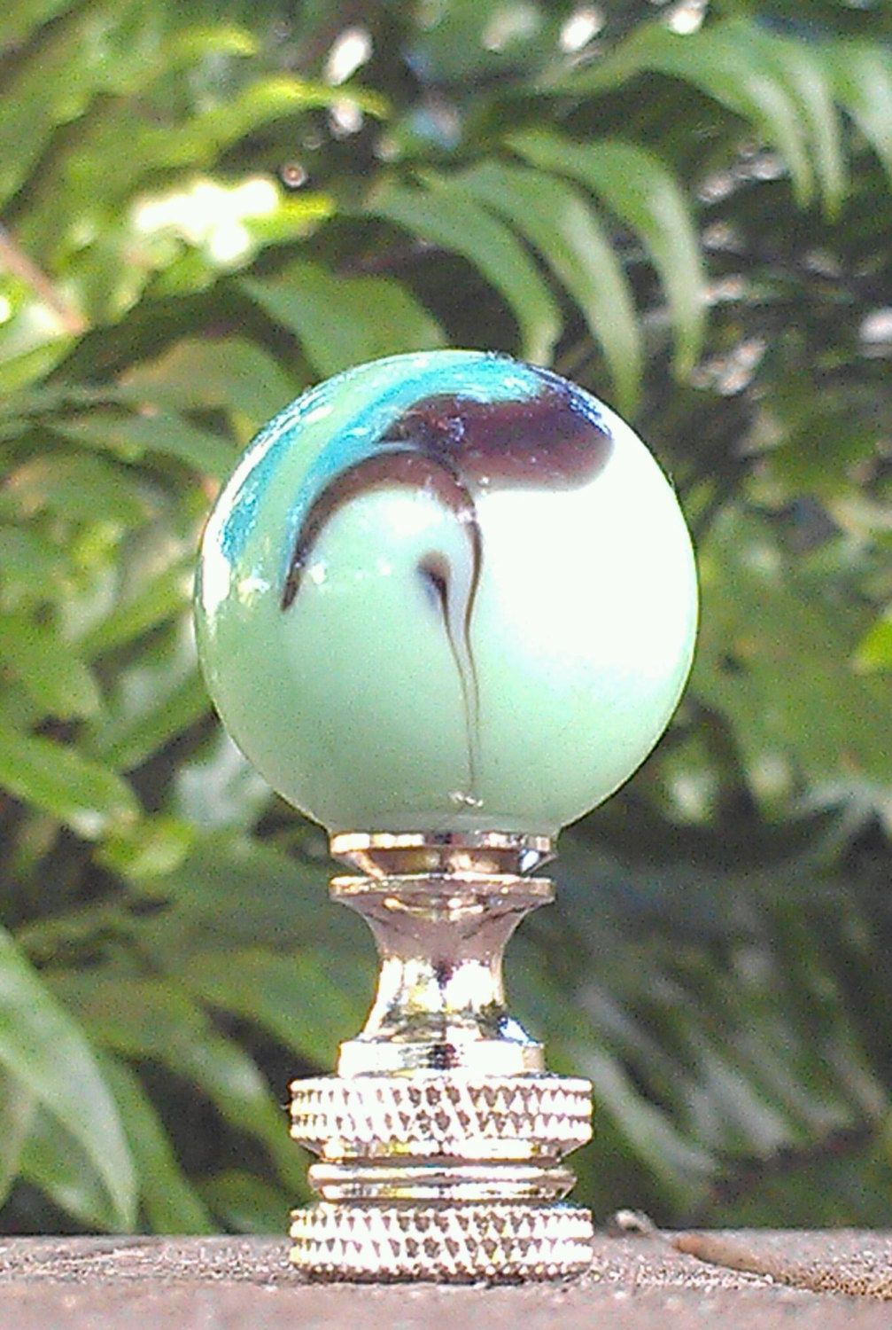 Lamp Finial Mint Green Marble Black Cyan Blue Swirls Butterfly Shiny Medium Finial Table Floor Lamp Custom Spider Top Home Decor Lamp Shades by VeroLampshades on Etsy