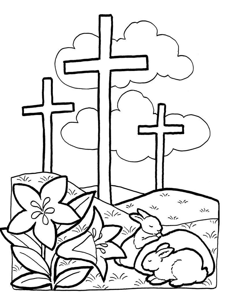 Easter Crosses Coloring Pages Buku Mewarnai Paskah Warna