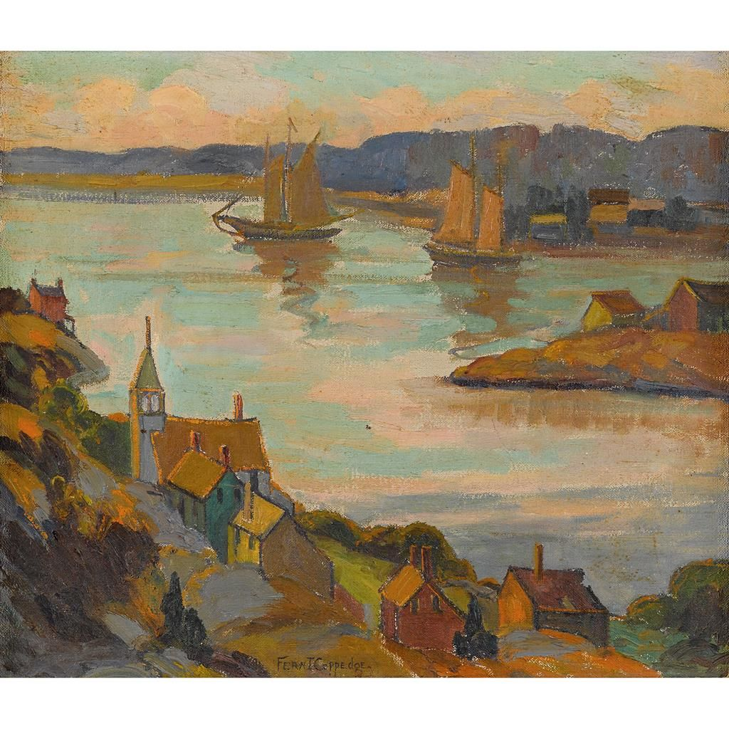 """""""Evening Gloucester Harbor,"""" Fern I. Coppedge, oil on canvas, 14 x 16"""", private collection."""