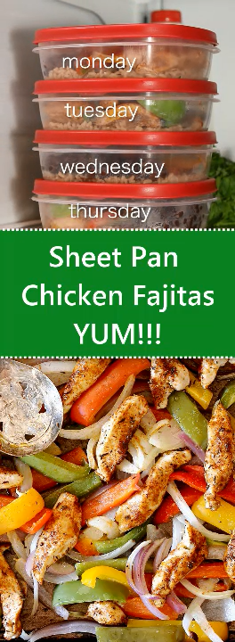 Sheet Pan Chicken Fajitas Bowl - Meal Prep #recipeforchickenfajitas