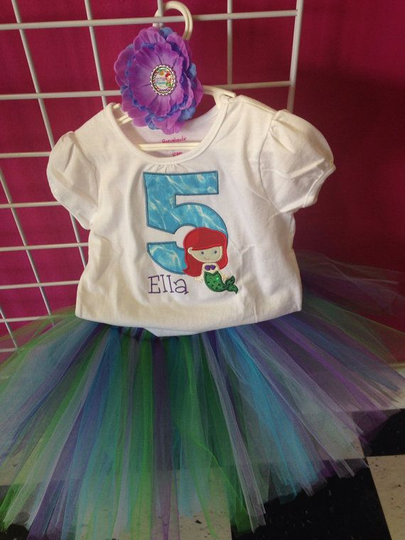 Ariel cutie little mermaid inspired birthday outfit. Onesie tshirt ...