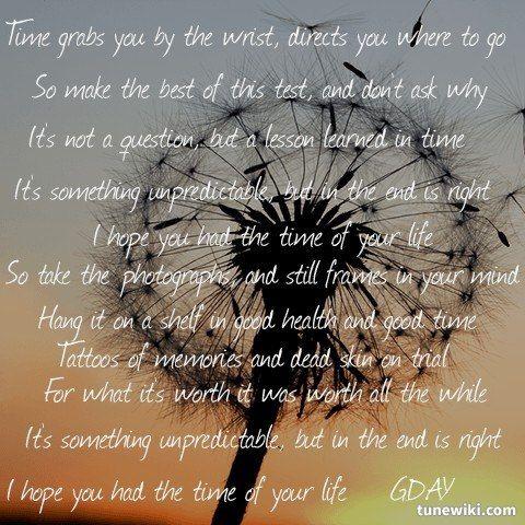 Green Day - Good Riddance(time Of Your Life) Lyrics ...