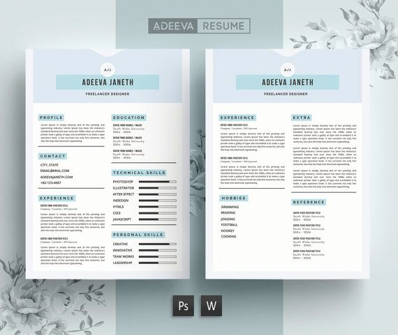 Resume Template CV Template Cover Letter for Word by AdeevaResume - personal skills for a resume