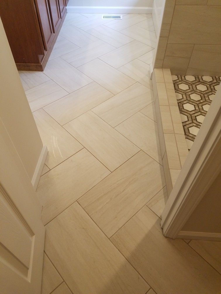 12x24 Master Bath Floor On A Diagonal Herringbone Bathroom Remodel Master Herringbone Tile Floors Tile Bathroom
