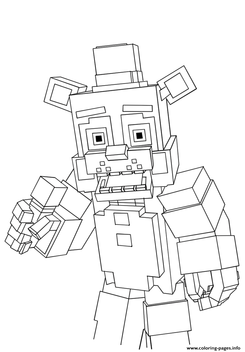 Print Minecraft Freddy Fnaf Coloring Pages In 2020 Fnaf Coloring Pages Pokemon Coloring Pages Coloring Books