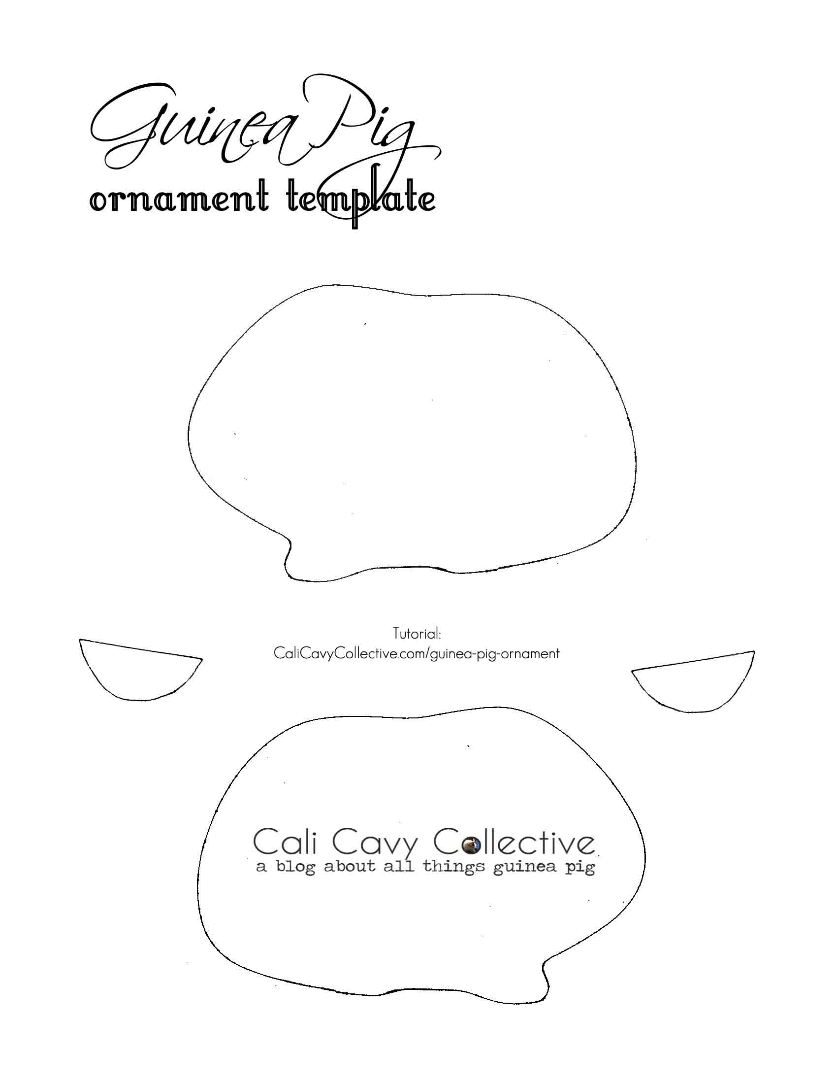 guinea pig ornament template pig party cavy little pets ornament template felt [ 1700 x 2200 Pixel ]
