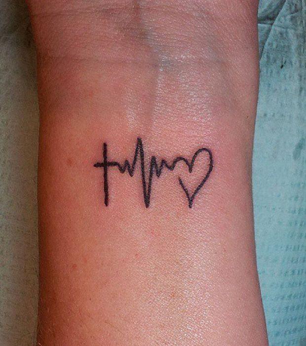 Un tatouage qui m le battement du coeu et religion - Idee tatouage poignet ...