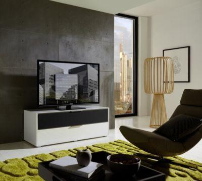 TV-Unterteil weiss hochglanz/ Alurahmen mit Akustikstoff grau Jetzt