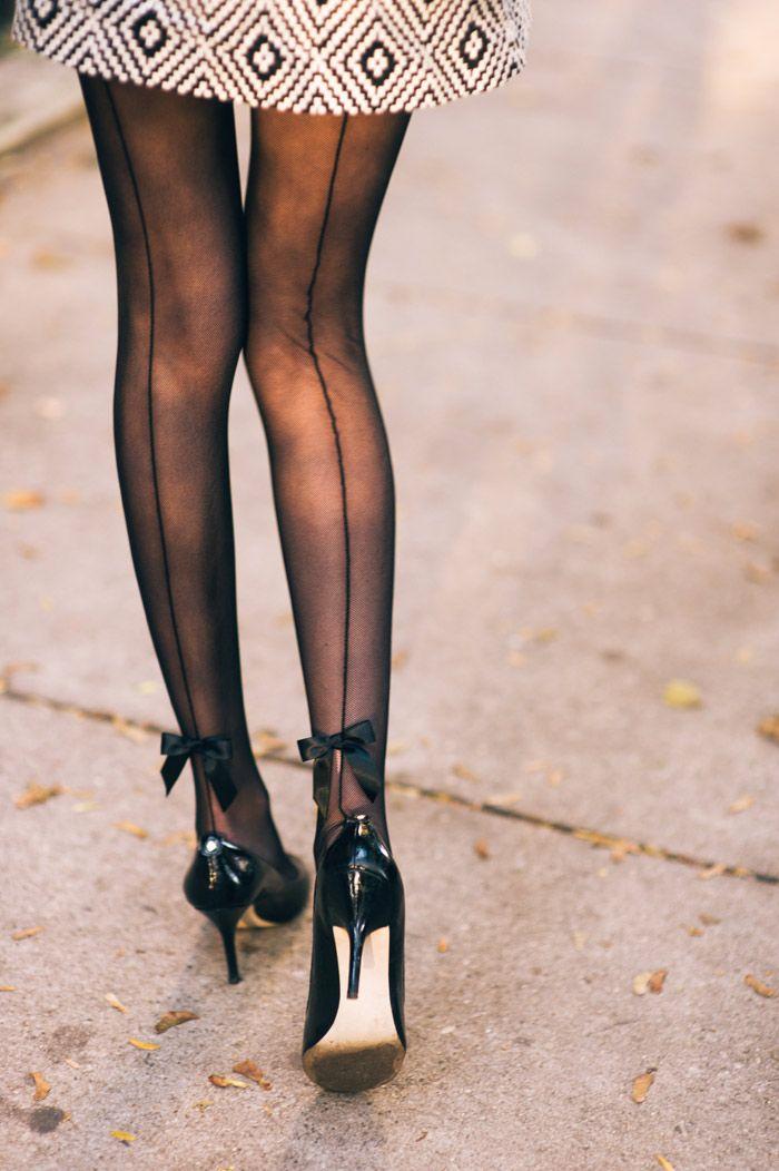 4a9b1fdfc46 stilettos with nylons hosiery. bow  Stockings OO