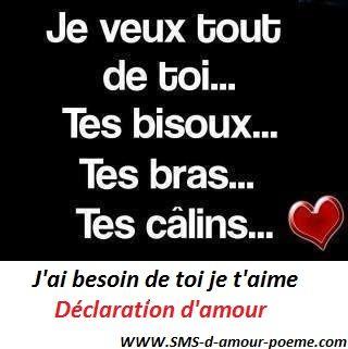 Déclaration Damour Besoin De Toi Citation Amour Heureux