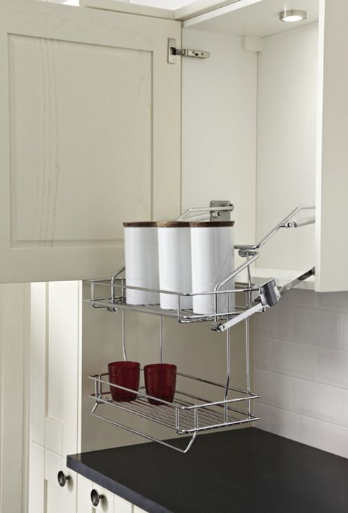 Photo of Kitchen Pull Down Basket Shelves / Two Tier Chrome Wire Shelf