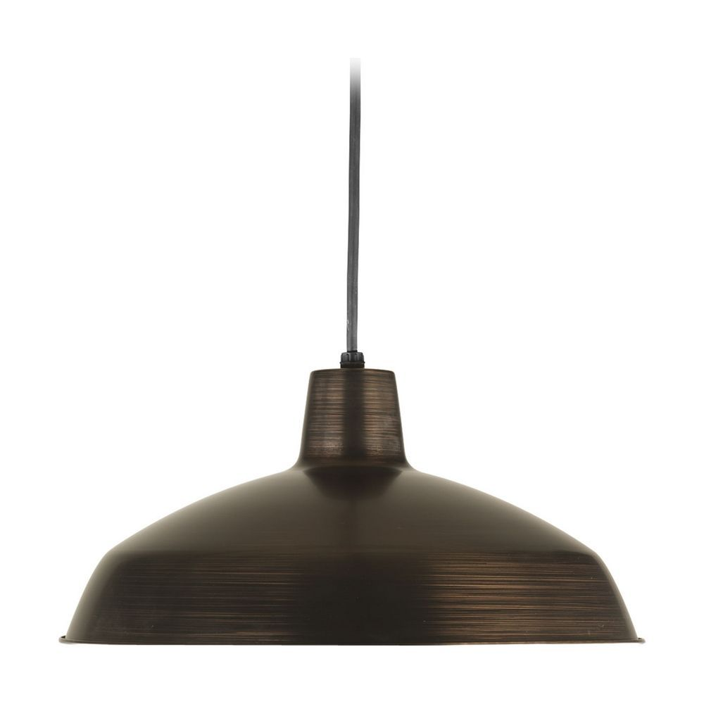 Farmhouse Barn Light Pendant Bronze Metal Shade by Progress