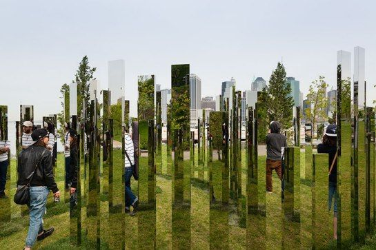New York's Public Art Fund tapped Danish artist Jeppe Hein for an installation of fountains, mirrors, and playful benches to populate Brooklyn Bridge Park. Through April 16, 2016, at Brooklyn Bridge Park, Brooklyn; publicartfund.org
