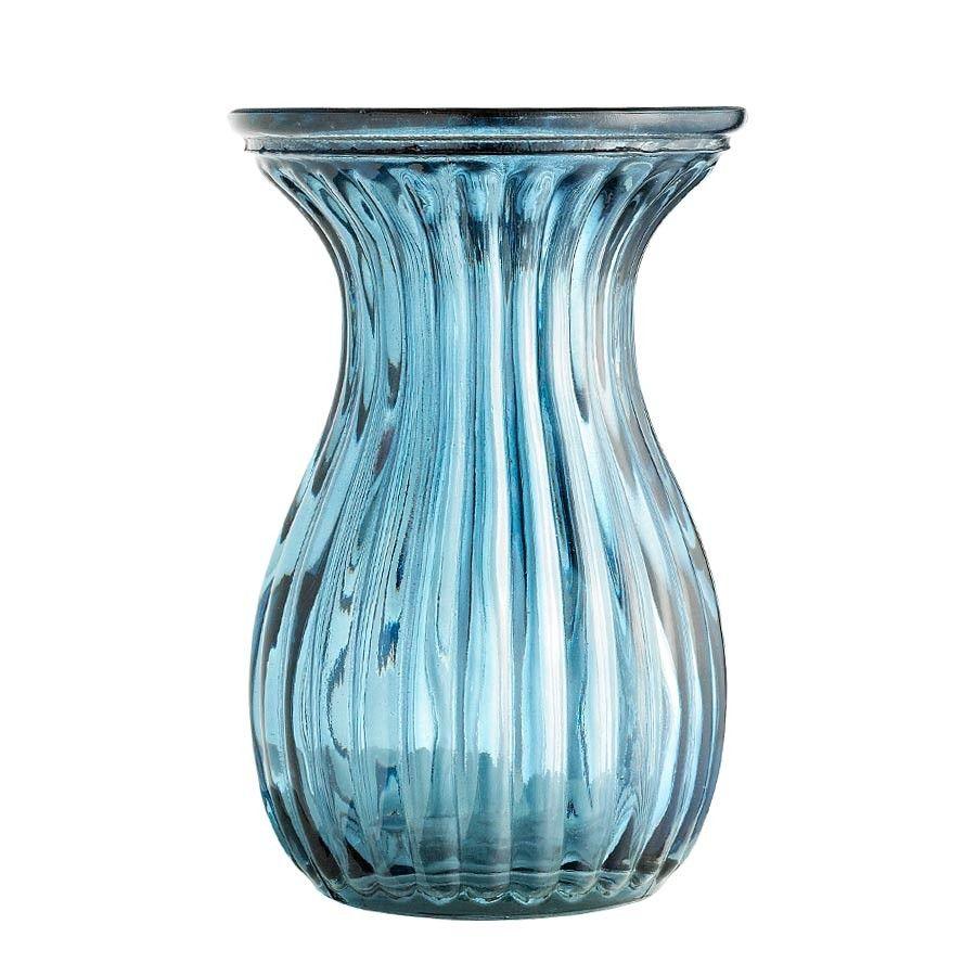Small ridged blue vase vases u plant pots home accessories