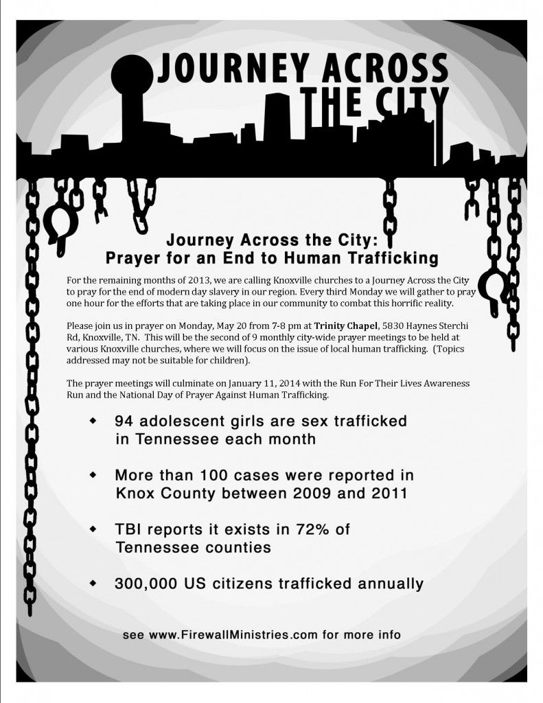 Journey Across the City 2013 in Knoxville, TN.  The work to fight trafficking begins with prayer.