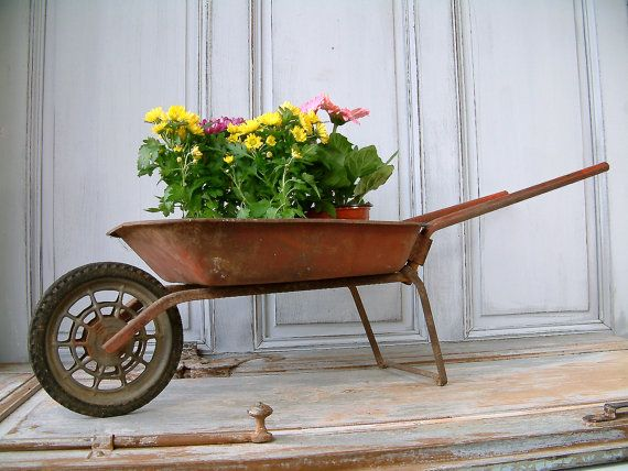 Vintage French Childs Toy Wheel Barrow With Folding Handles Rusty Red Wheelbarrow Mini Wheel Barrow Children S Garden Wheelbarrow French Vintage Garden