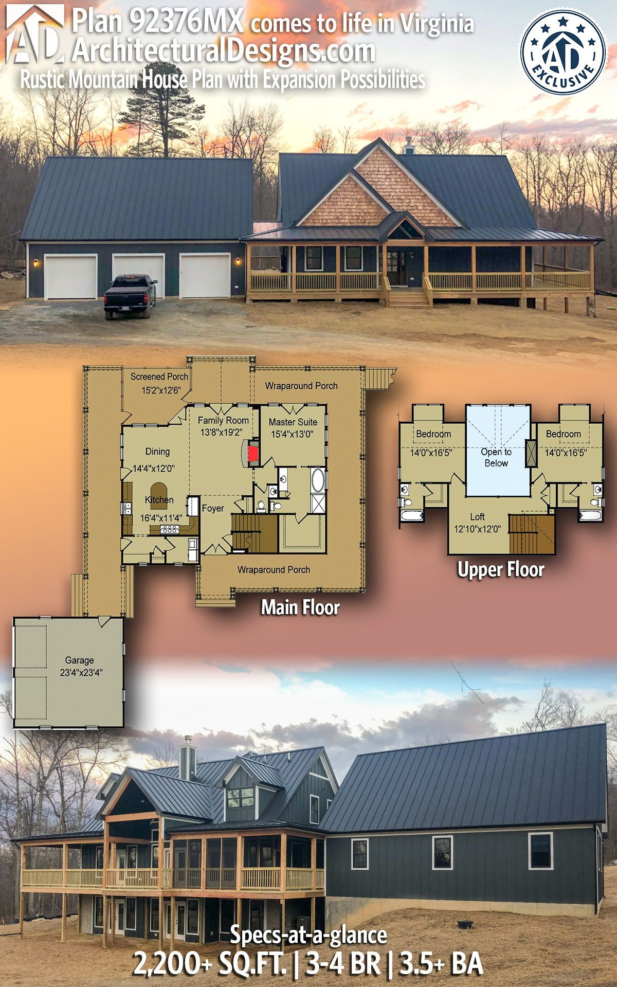 Plan 92376mx Rustic Mountain House Plan With Expansion Possibilities Mountain House Plans Pole Barn House Plans Barn House Plans