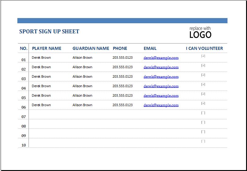 Sports Sign Up Sheet At Xltemplatesorg