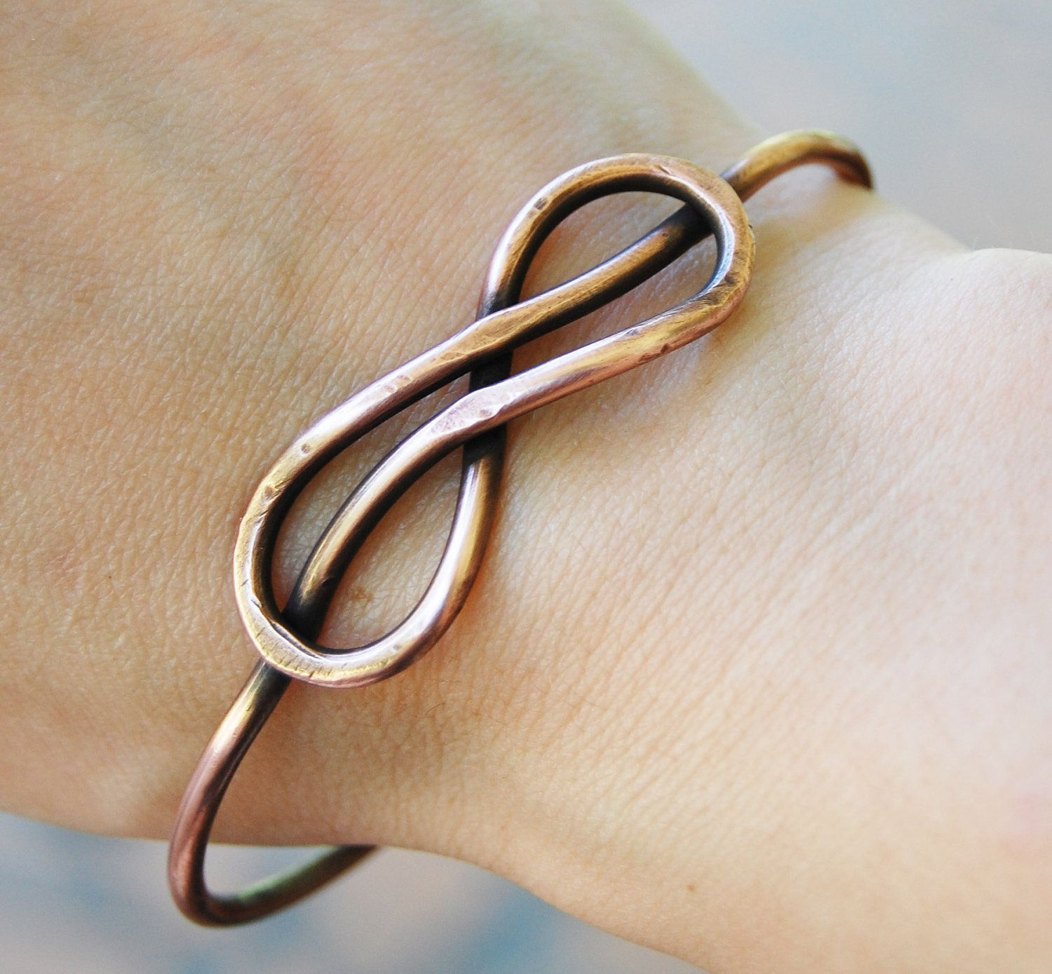 Stiff wire for crafts - Infinity Bracelet Knot Bangle Oxidized Copper Wire Jewelry More