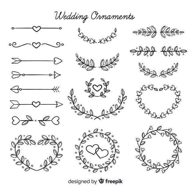 Hand Drawn Floral Wedding Ornaments Pack Free Vector Freepik Freevector Freeflower Freewedding In 2020 How To Draw Hands Bullet Journal Banner Doodle Lettering