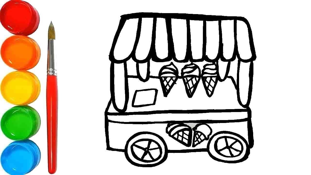 Cara Menggambar Dan Mewarnai Mainan Gerobak Es Krim Bong Learning