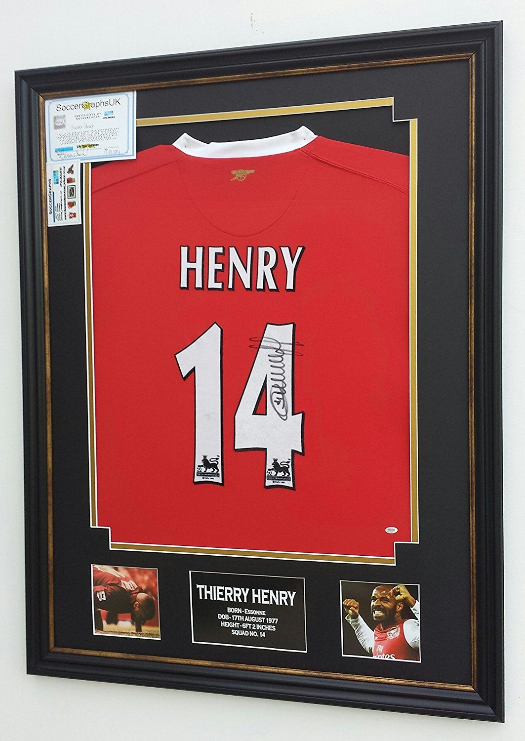 49ce51aa8cf Signed Thierry Henry Arsenal Shirt Framed and ready to display!  Amazon.co.