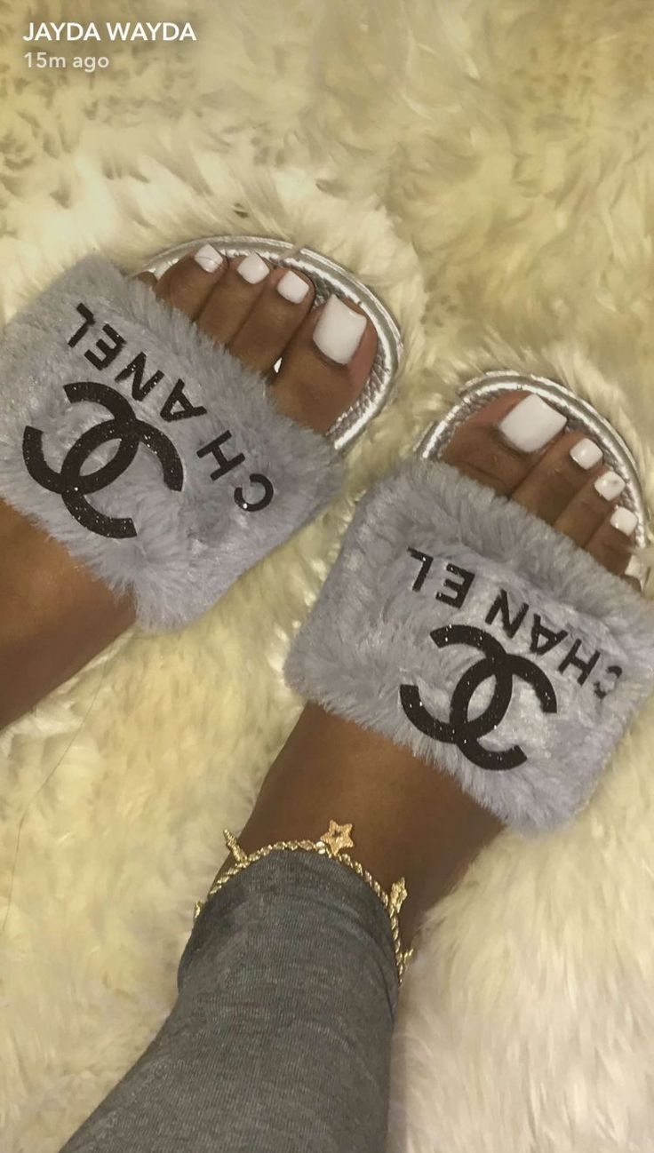 chanel fuzzy slides   Hype shoes