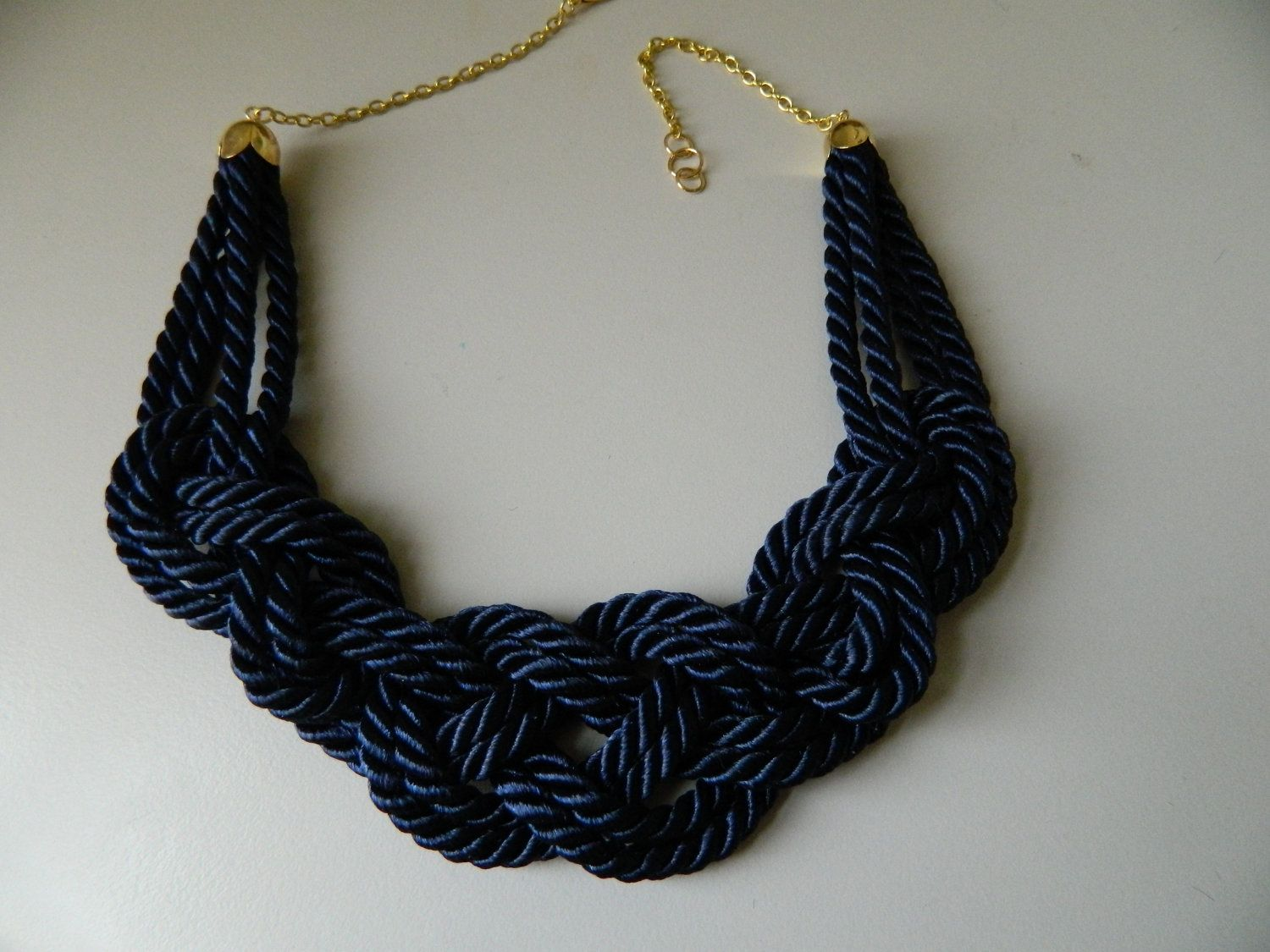 Navy Blue Sailor Knot /Japanese Knot Necklace/choker, Rope Necklace, Nautical Necklace. $17.00, via Etsy.