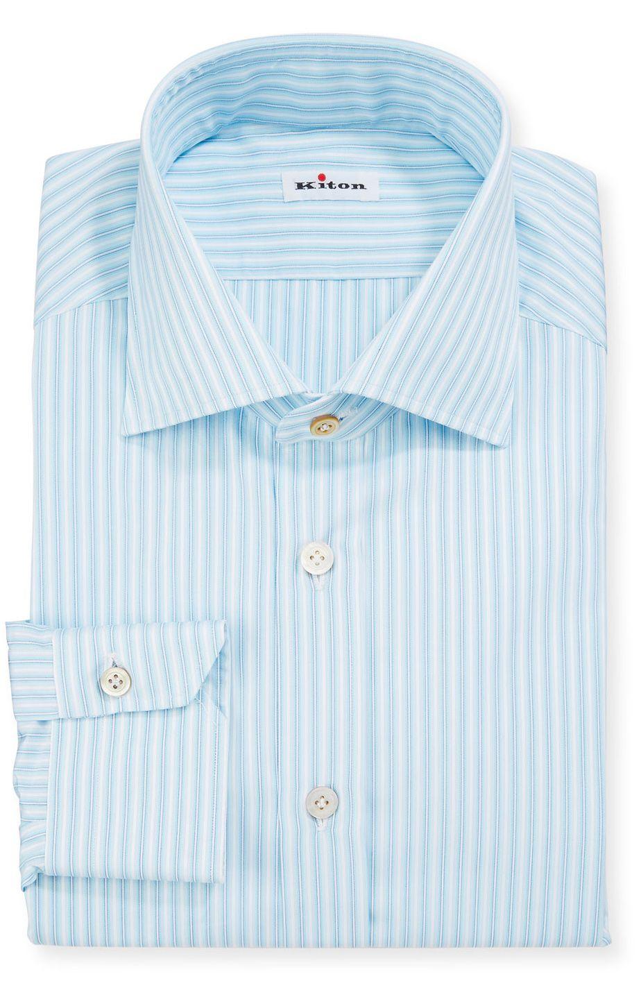 Kiton Men S Aqua Multi Stripe Dress Shirt Brioni Dress Shirt Shirt Dress Shirts [ 1414 x 924 Pixel ]