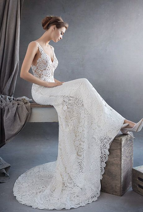 ab2f817abfe9d Lazaro 3609 Venise Lace Trumpet Bridal Gown With V Neck Sheer