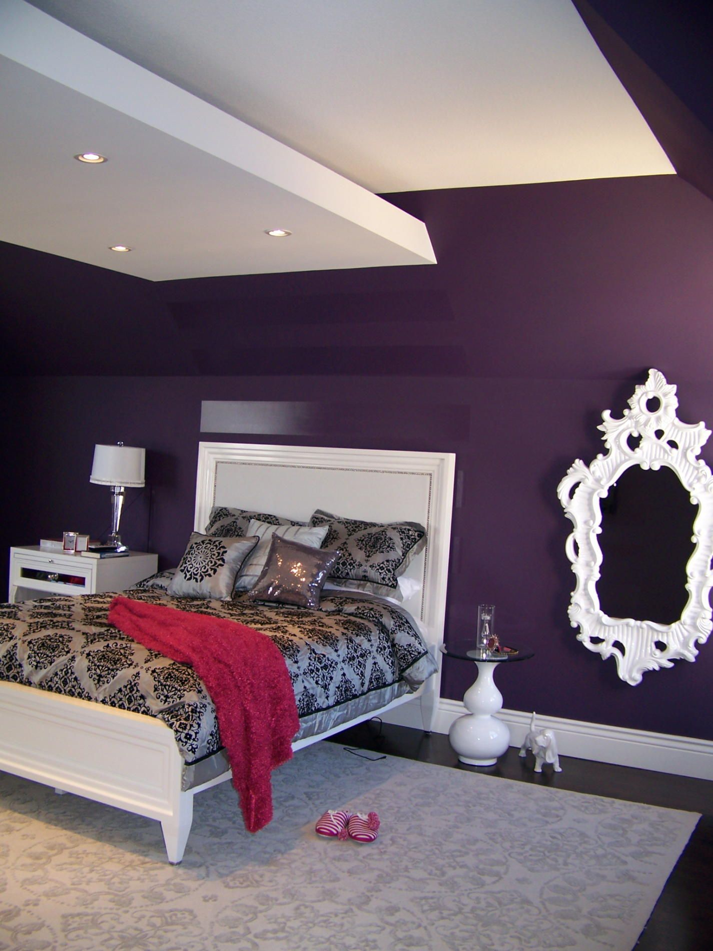 Merveilleux Purple Paint For Teen Bedroom | Teenage Bedroom Ideas 1425x1900 Nina  Sobinina Design Deep Purple For A ..