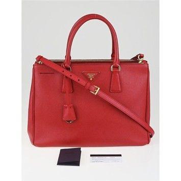 8fa70c9f1988 Prada Fuoco Saffiano Lux Leather Double Zip Medium Tote Bn2274 Red (Fuoco)  Cross Body Bag on Sale