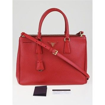 adcdfed32d65 Prada Fuoco Saffiano Lux Leather Double Zip Medium Tote Bn2274 Red (Fuoco)  Cross Body Bag on Sale