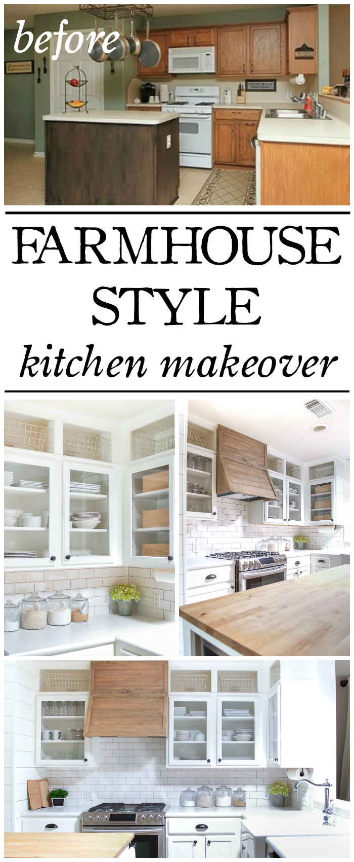 Farmhouse Style Kitchen Makeover Reveal | Builder grade kitchen ...